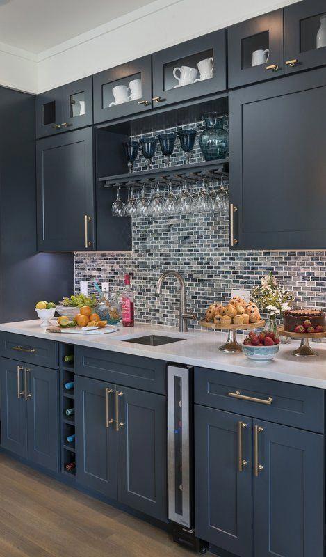 Contemporeano 1 x 1.85 Glass Mosaic Tile in Dark Blue #graycabinets