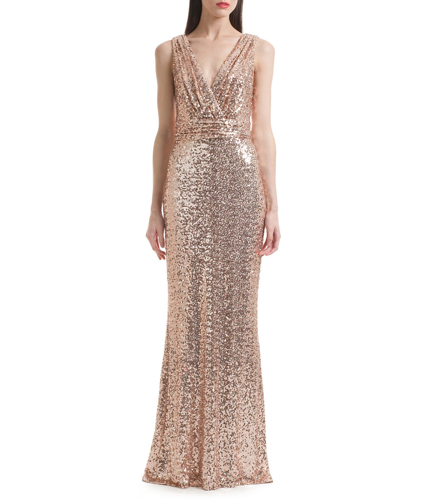 Shop for Belle Badgley Mischka Sleeveless V-Neck Sequined Gown at ...