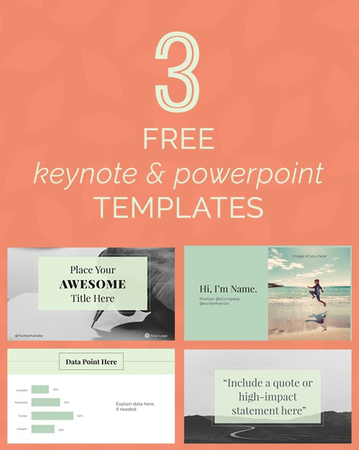 Design killer Keynote and PowerPoint decks for SlideShare, your online course or presentation with these three free editable templates.