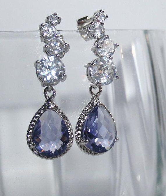Tanzanite Earrings Bridal Rhinestone Earrings silver Romantic ...