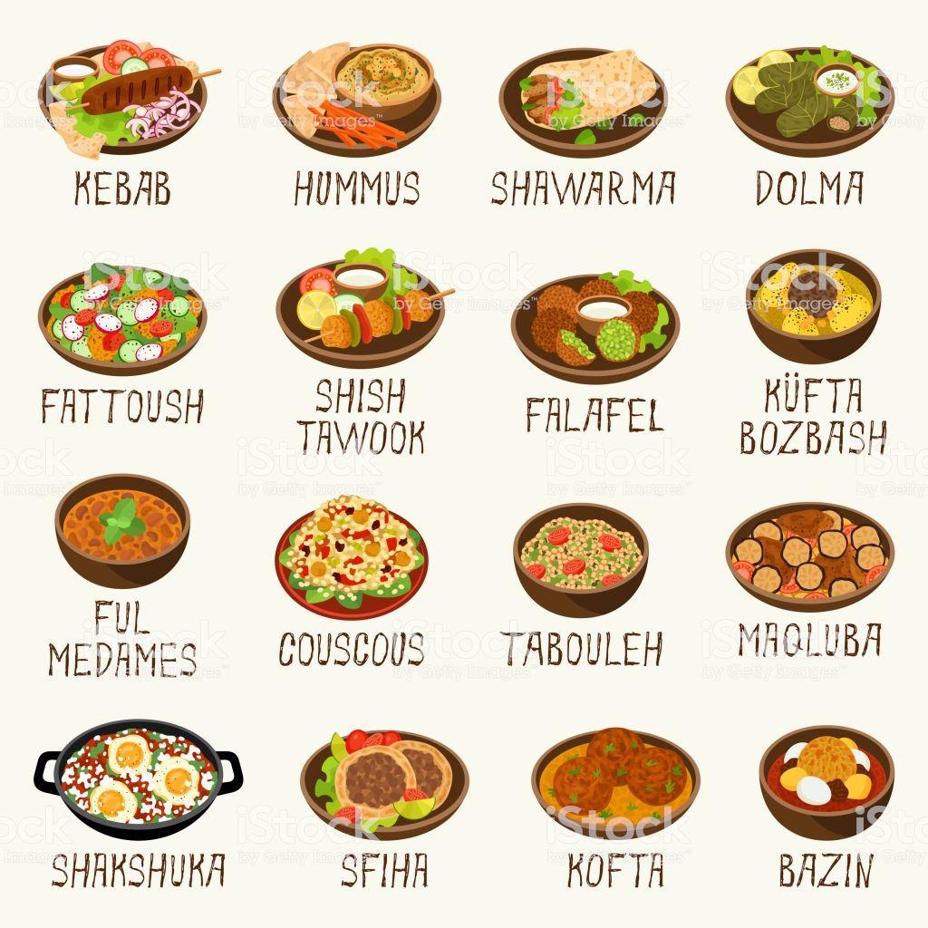 Arab Cuisine Popular Dishes Vector Illustration Food Mediterranean Recipes Cuisine