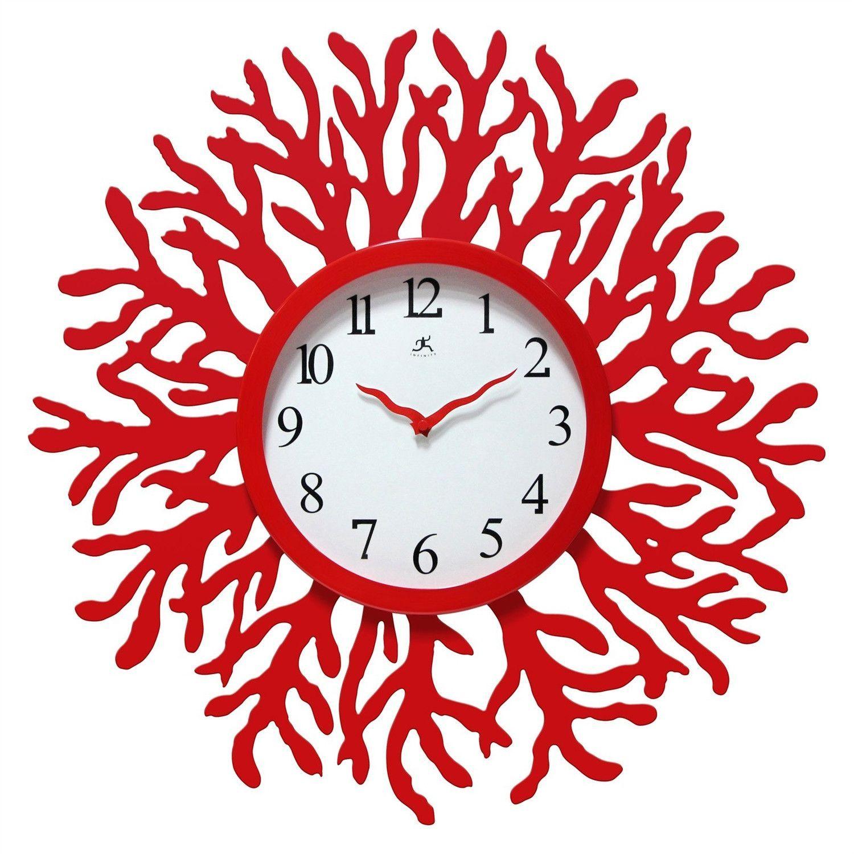 Red Coral Reef Modern Wall Clock Ocean Beach Theme 22 Inch Diameter Wall Clock Modern Red Wall Clock Wall Clock