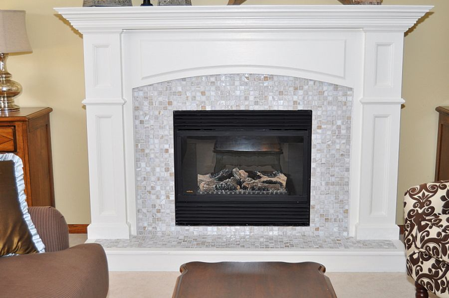 I Love The Trim And Glass Tiles Around The Fireplace Insert