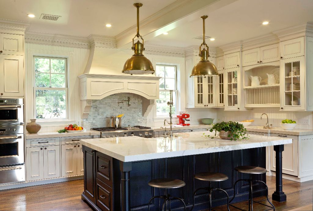 Kitchen with oversized center island Lighting from Cabana Home