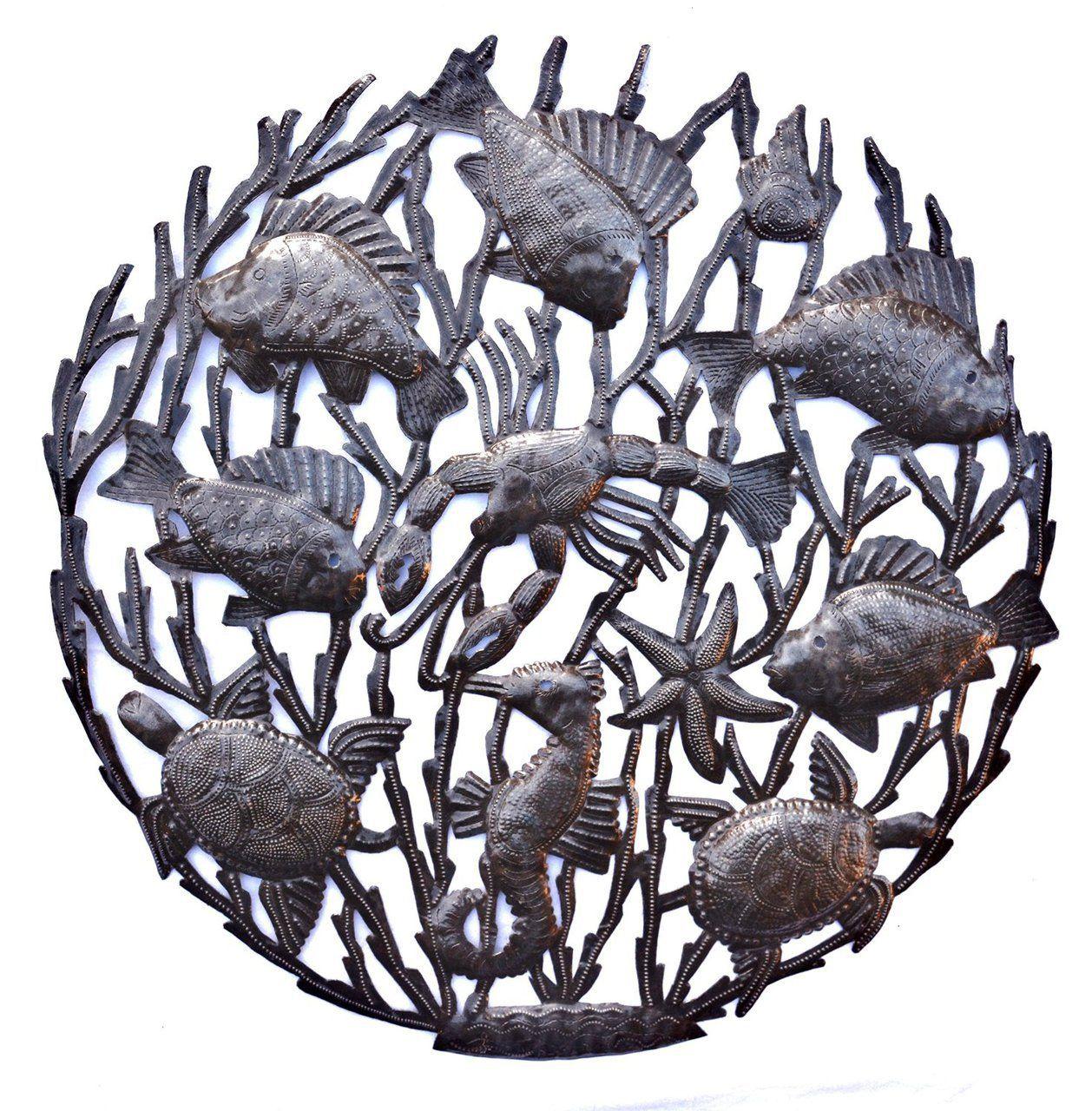 Haiti Metal Art, Indoor and Outdoor Patio Yard Art, Sea Life Wall Art, Turtles, Starfish, Seahorse, Beach Theme Decor