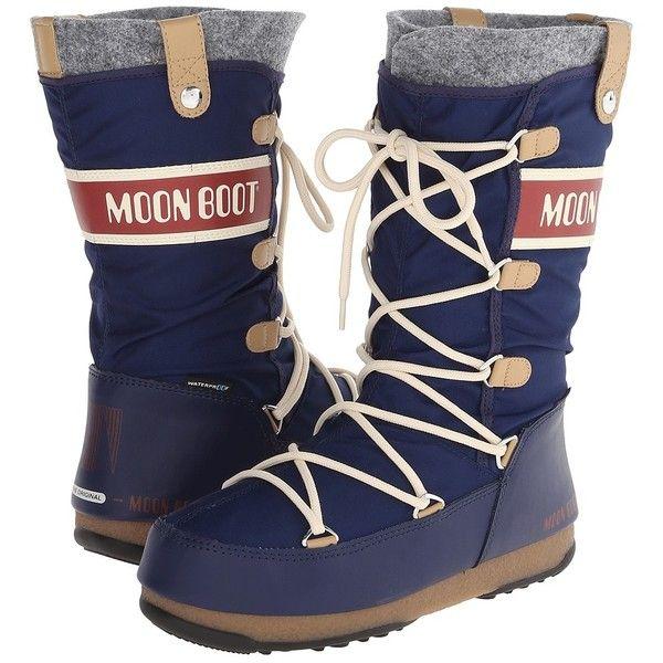 3ee21e395ee30 Tecnica Moon Boot Monaco Felt (Blue) Women's Cold Weather Boots ...