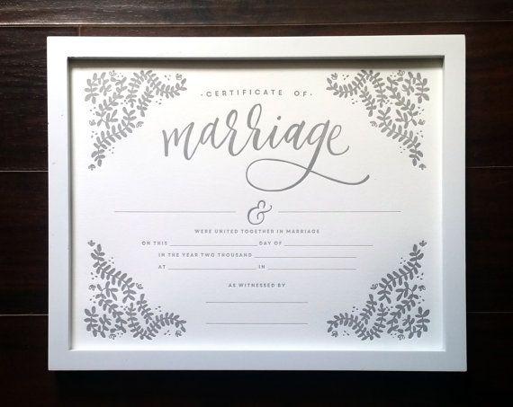 Marriage Certificate, 11x14 Letterpress Print, art print, blank ...