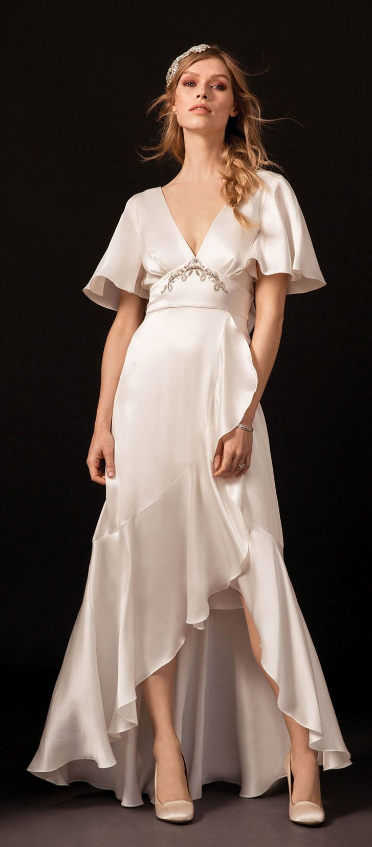 A romantic silk double satin gown, with ruffled panels high and low a line wedding dress #wedding #weddinggown #weddingdresses #weddingdress