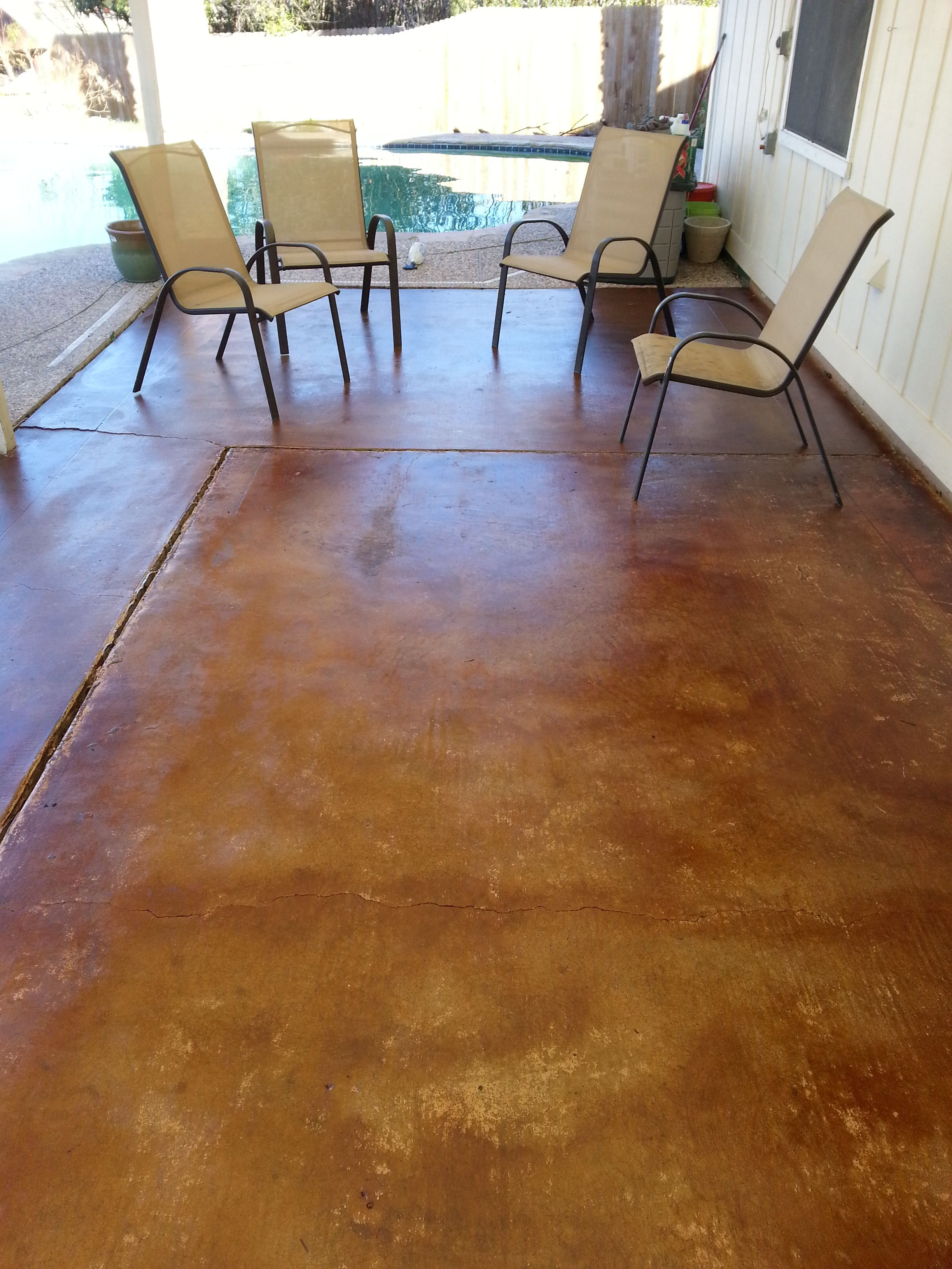 Stained Concrete Patio Vintage Umber Stained Concrete