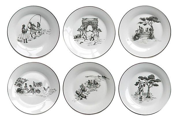 I have this set! They look even better in person!  Harlem Toile Dinner Plates ~ Sheila Bridges