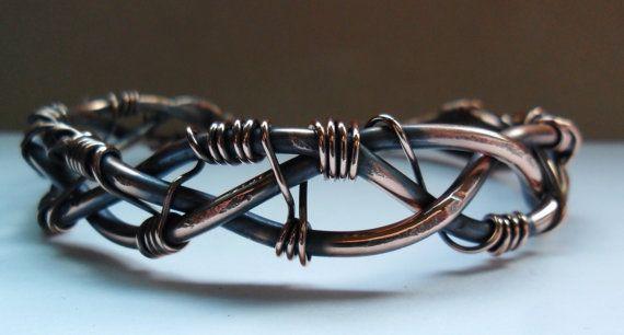 Braided Copper Wire Work Cuff Bracelet | Kupferdraht, Flechten und ...