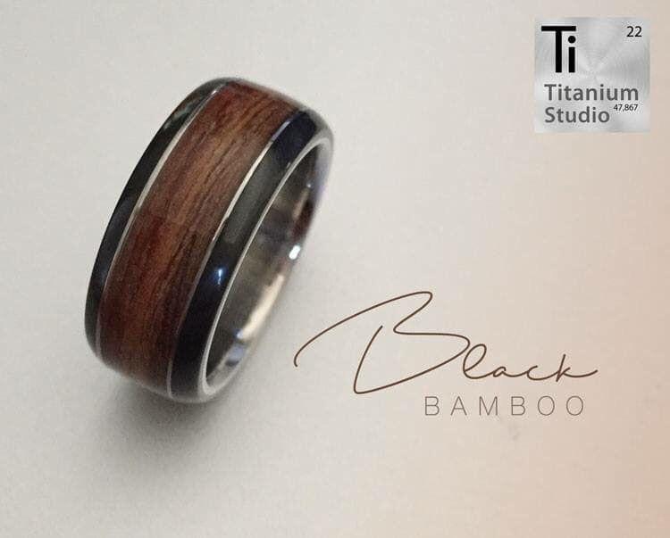 Black Bamboo Wedding Ring Black Titanium Ring Wood Rings Rings
