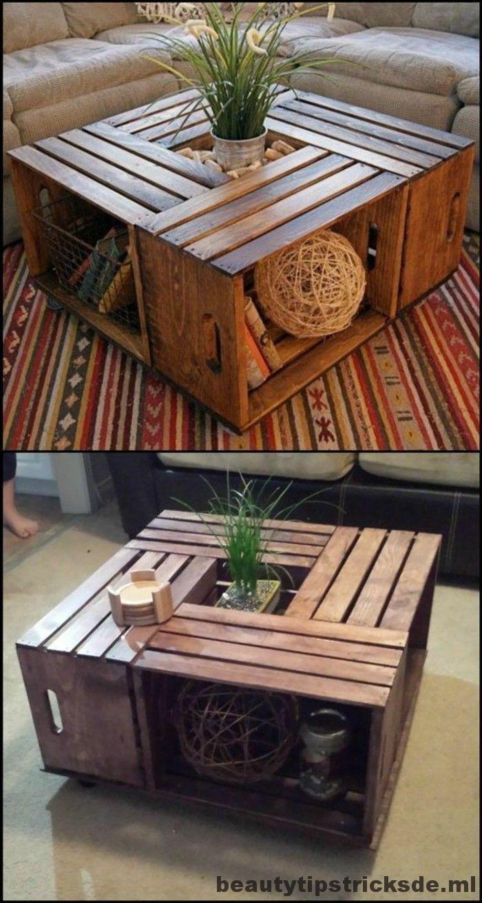 Diy Möbel Wohnideen machen Ihren eigenen Tisch aus Weinboxen