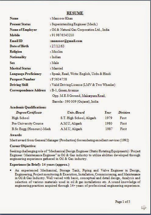 Instrument Commissioning Engineer Sample Resume Amazing Format Of Bio Data Sample Template Example Of Excellentcv  Resume .