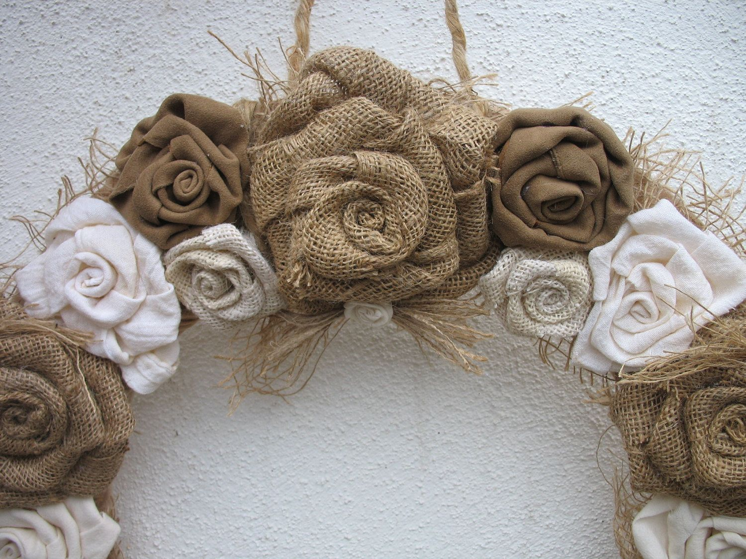 Burlap rose wreath for the door burlap wedding for Burlap wreath with lights
