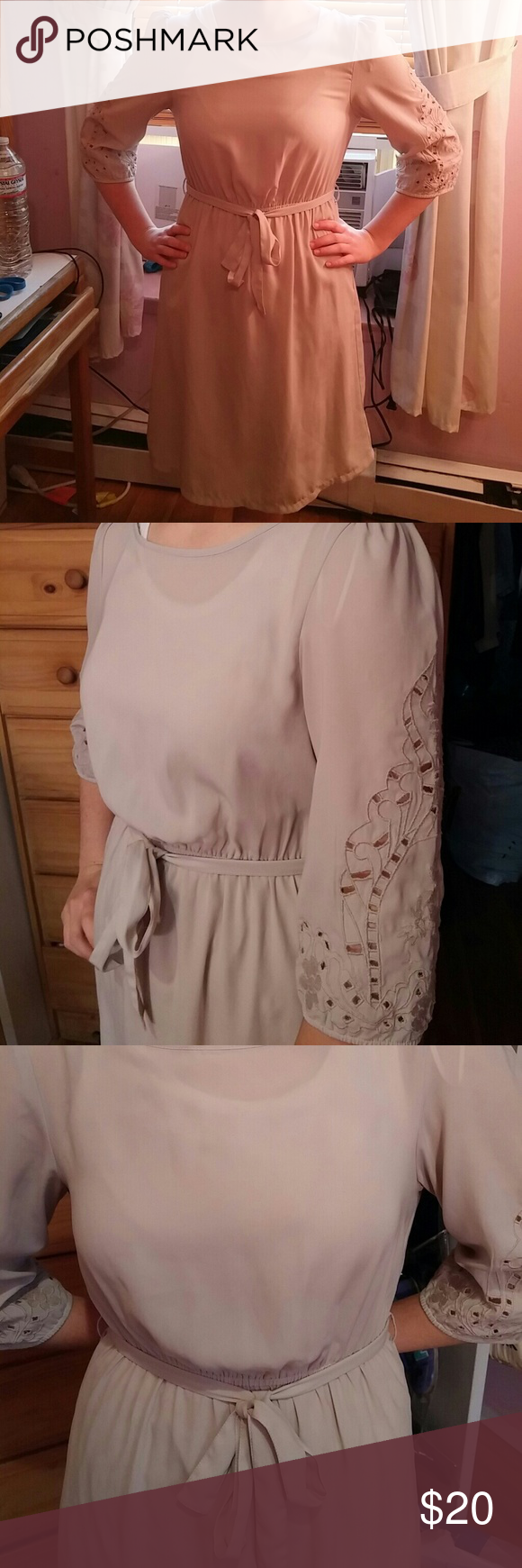 """Summery h&m dress Great condition barely worn Size 6 Elastic waist 13""""- 18.75"""" Beige/sand color Summery and light may want to wear a slip under Length approx 38"""" H&M Dresses Long Sleeve"""