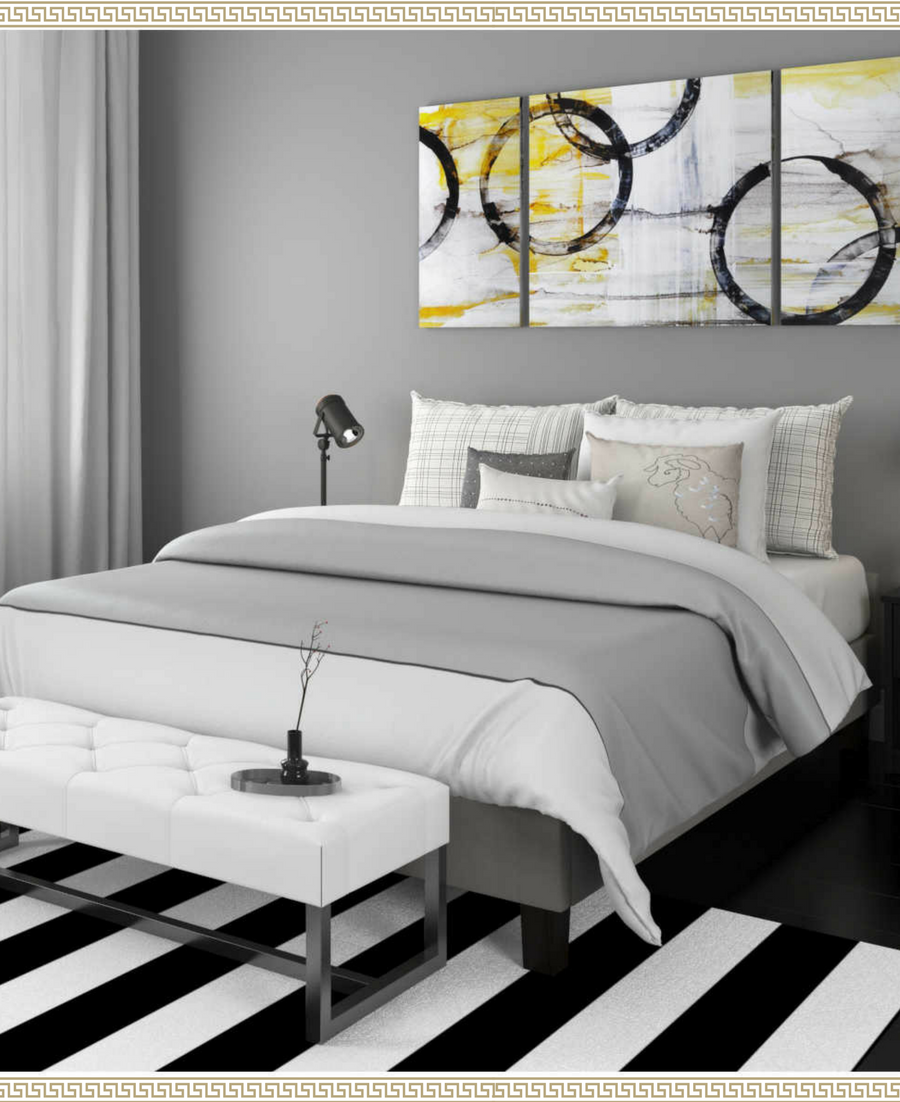 I Love This Black White Gray And Gold Bedroom The Black And