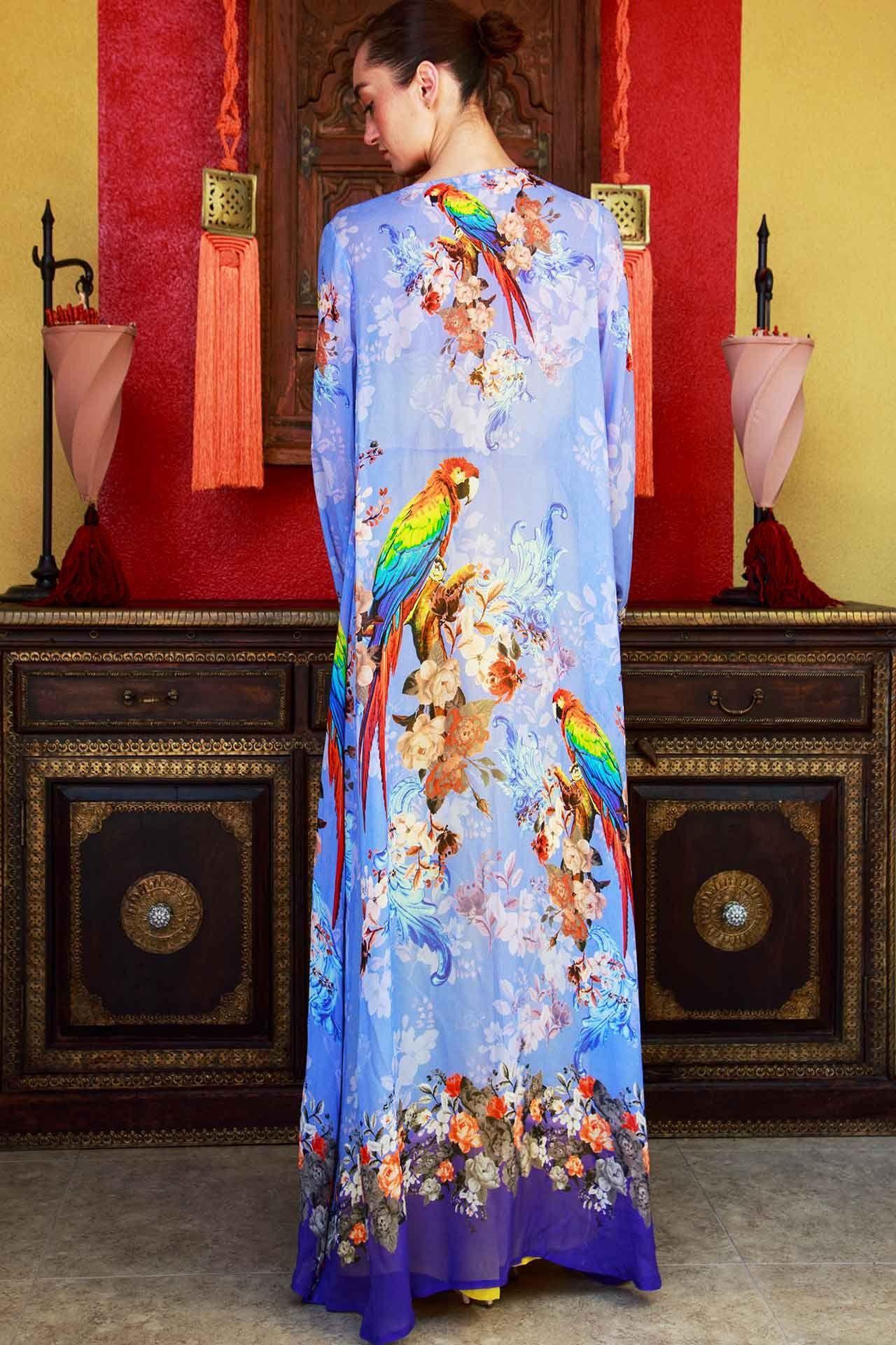 Blue Bird Print Tropical Beach Cover Up - Designer Women s Clothing - Shahida  Parides 84323527e