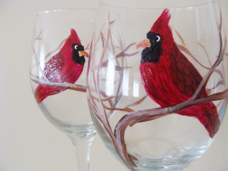 Cardinal Wine Glasses Red Cardinal Bird Christmas Wedding Present Housewarming Gift Bird Christmas Wine Glasses Painted Wine Glasses Hand Painted Wine Glasses