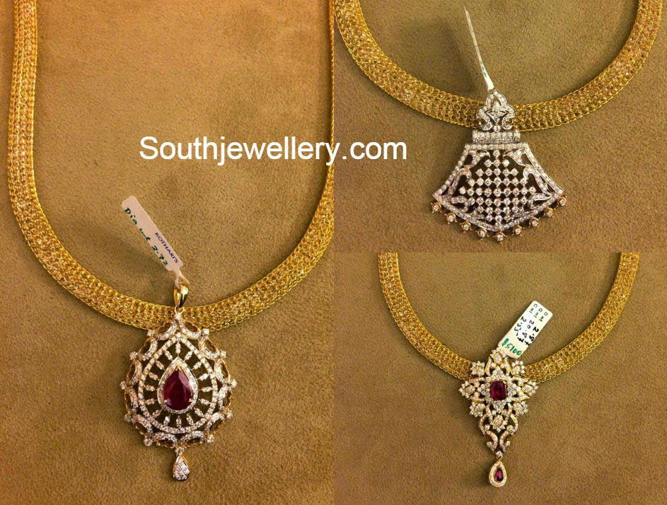 Pin by asha ture on gold jewellery pinterest diamond pendant gold mesh necklace with diamond pendant aloadofball Image collections