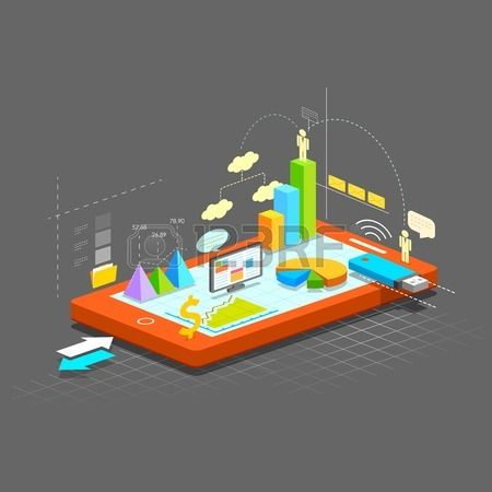 illustration of business graph on mobile screen showing online business Stock Vector