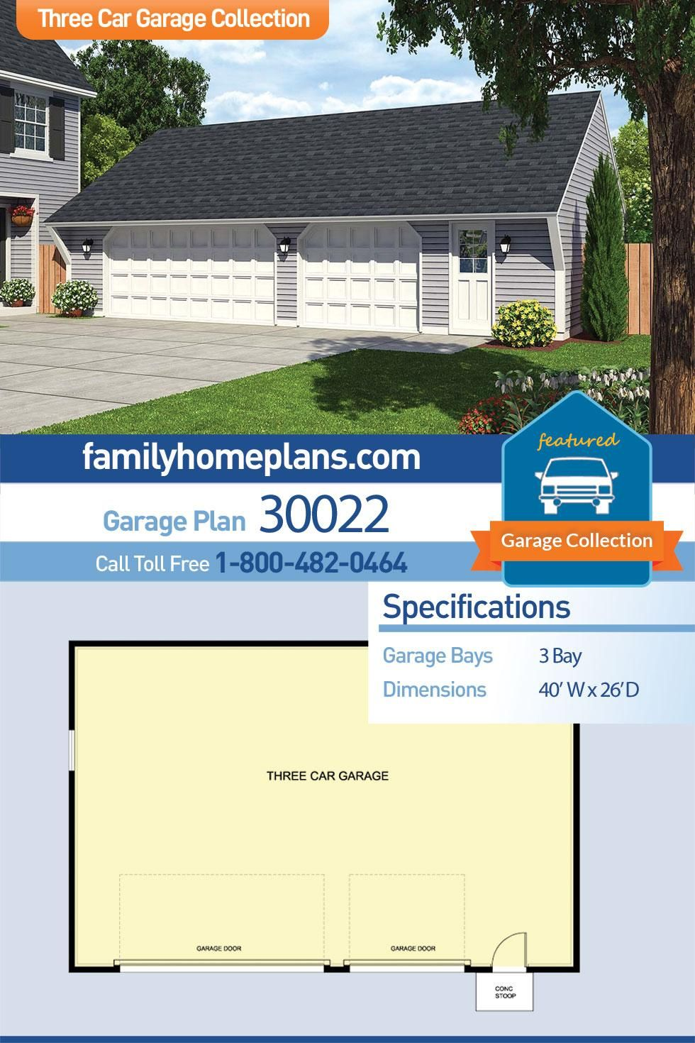 Traditional Style 3 Car Garage Plan Number