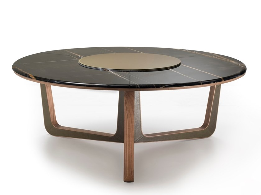 Round Sahara Noir Marble Table With Lazy Susan Ascot By I 4