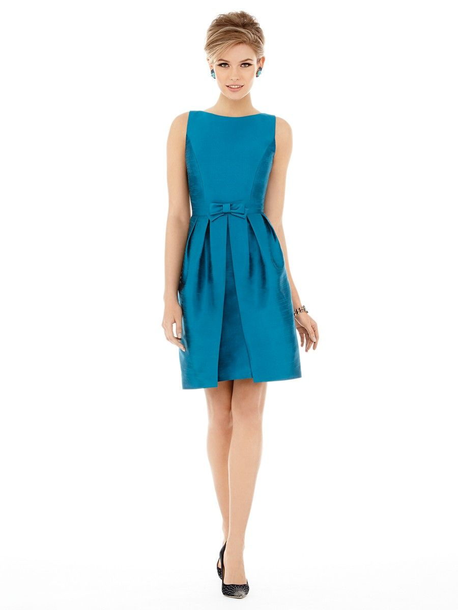 Alfred Sung D700 Dupioni Pleated Skirt A-Line Bridesmaid Dress