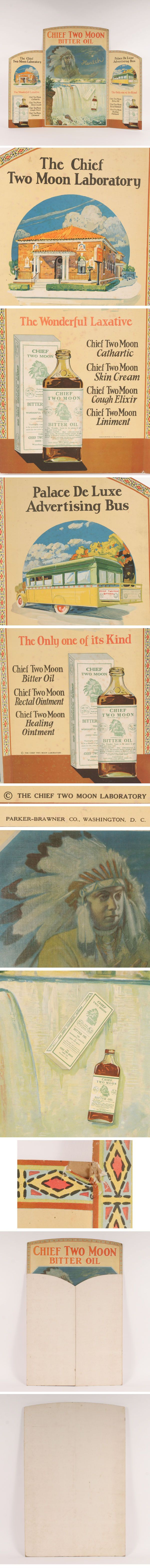 Vintage Chief Two Moon Bitter Oil folding cardboard litho point of purchase counter top display. -