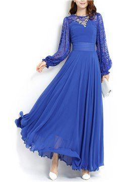 Blau Spitze Patchwork Langarm Maxikleid Abendkleider Mit ärmel Weiße Lange Kleider Kleider Für Frauen