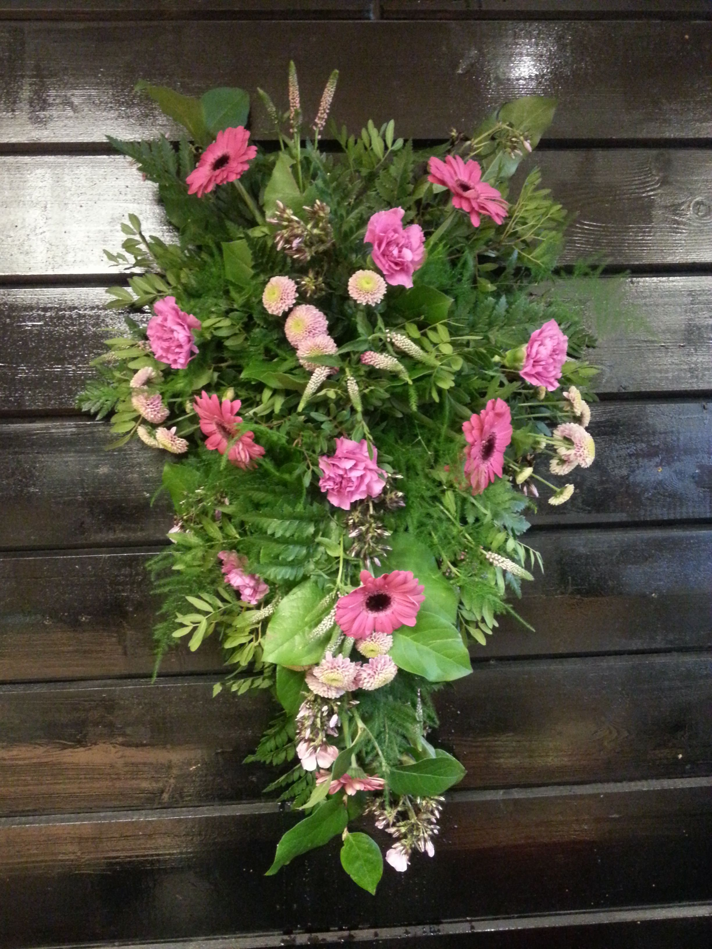 Teardrop Funeral Arrangement With Pink Gerbra Funeral