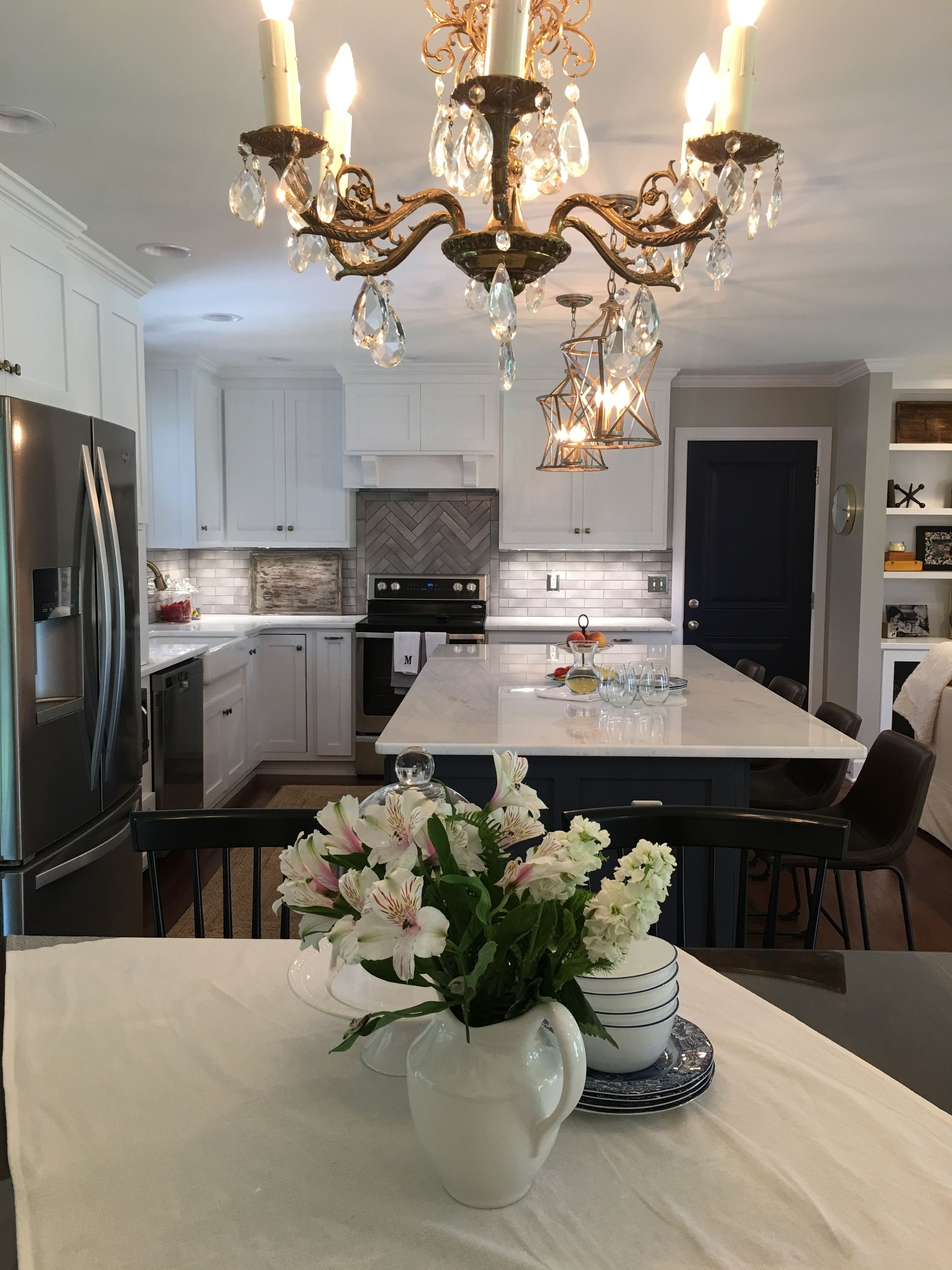 Antique gold chandelier | Dining room buffet, Kitchen ...