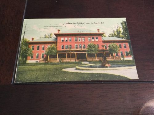 Indiana State Soldiers Home Antique Postcard Lafayette Postmark 1912 Divided