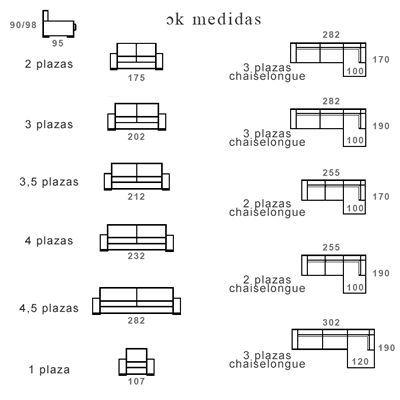 Medidas de sofas 3 2 hogar y ideas de dise o for Medidas sofa cheslong