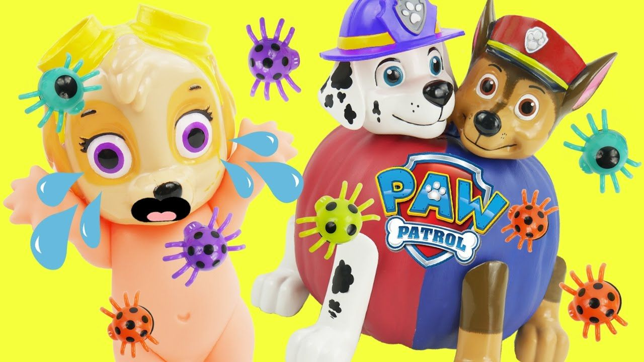 Playing with toys to learn Colors. Toys include Paw Patrol Play Doh ...
