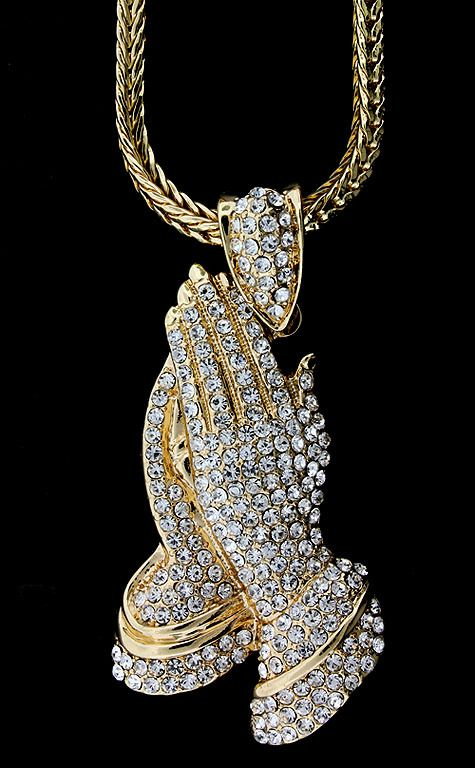 Jewelzking mens iced out hip hop bling gold praying hands cz jewelzking mens iced out hip hop bling gold praying hands cz pendant chain necklace mozeypictures Images