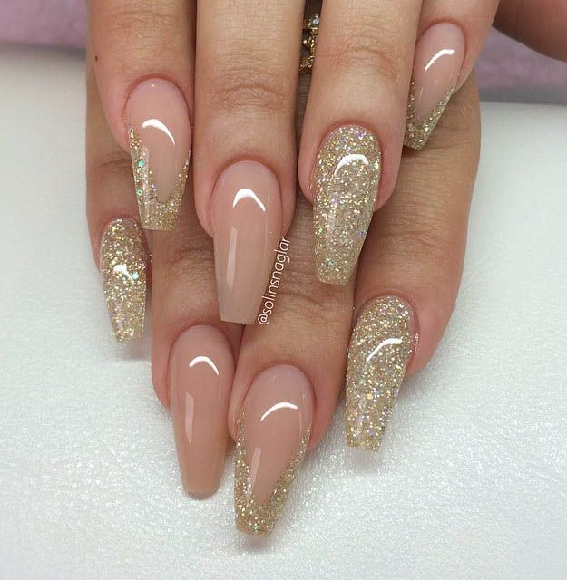 Nude and glitter most popular coffin nail designs to try yourself nude and glitter most popular coffin nail designs to try yourself coffin nails solutioingenieria Gallery