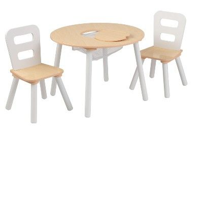 Round Table And Chair White Natural Set Of 2 Kidkraft Target