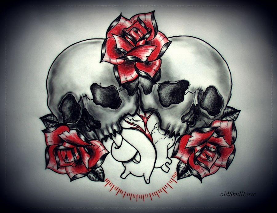 Skulls Heart Roses Tattoo Design Love Pinterest Tattoos