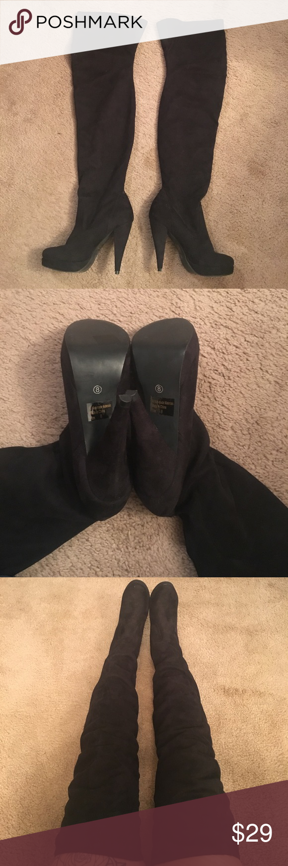 Black suede over-the-knee high heel boots I am honestly not sure what brand these are. I remember buying them at Bloomingdales a little over a year ago but other than that, I'm not sure. They are in great condition but have been just sitting in my closet, not being used. Shoes Over the Knee Boots
