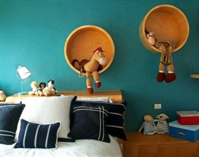 Runde Regale kinderzimmer runde regale holz möbel türkisblaue wandfarbe