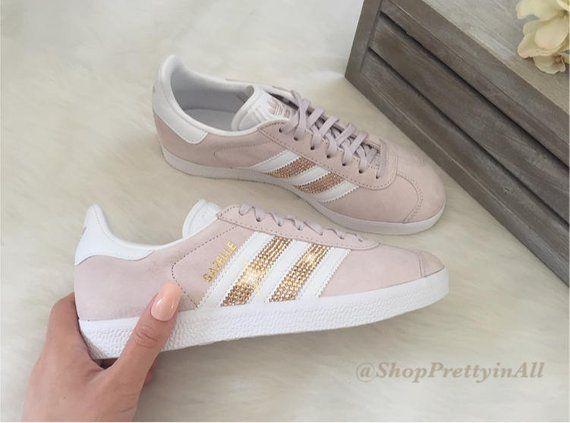 grosses soldes qualité supérieure chaussures décontractées Custom Adidas Gazelle with Rose Gold Swarovski Crystals on ...