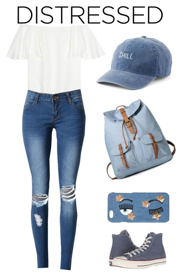 """""""Distressed Denim"""" by handrake2004 ❤ liked on Polyvore featuring Valentino, WithChic, SO, Chiara Ferragni and Converse"""