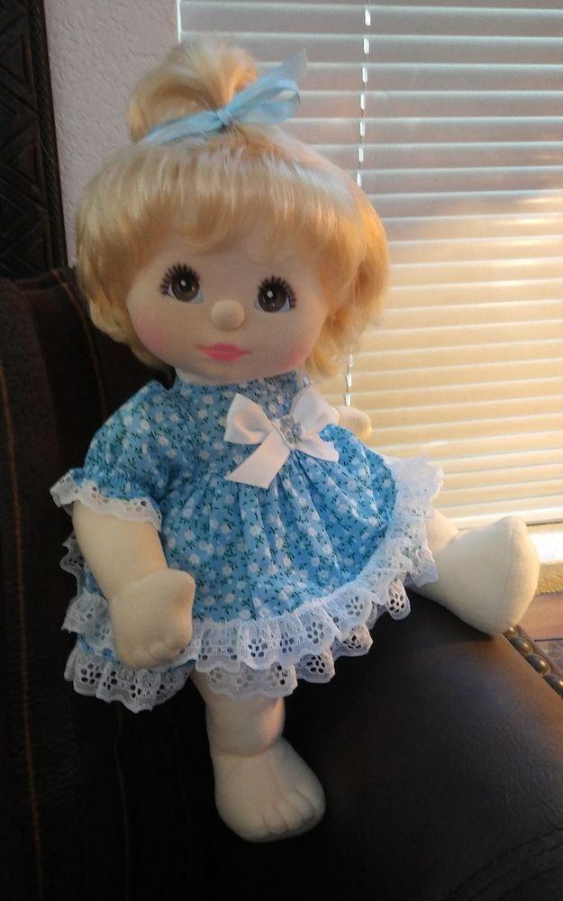 1980's MATTEL MY CHILD DOLL- BLONDE W/ BROWN EYES- MINTY- BLUE FLORAL DRESS #Mattel