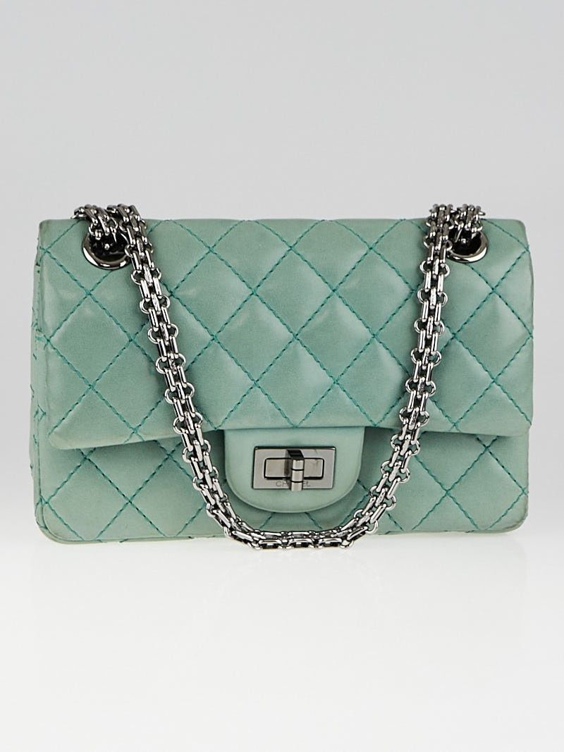 76442feab03c Chanel Green 2.55 Reissue Quilted Lambskin Leather 224 Flap Bag ...