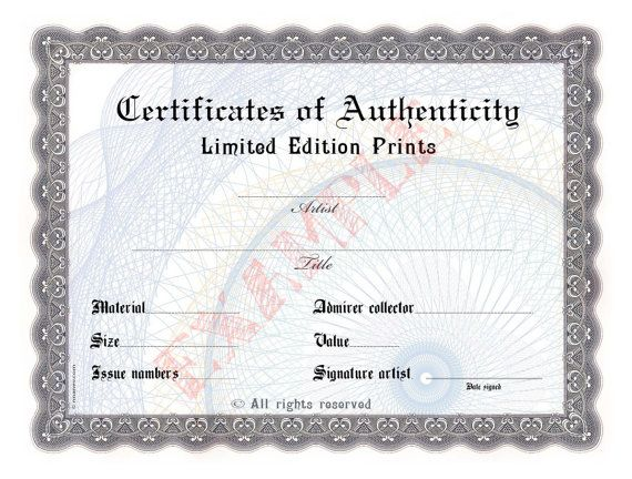 Blank certificate of authenticity limited edition for Free printable certificate of authenticity templates