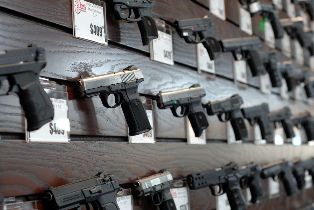 Double pistol handgun revolver gun display case cabinet rack shadowbox - Buds Gun Shop And Range Guns