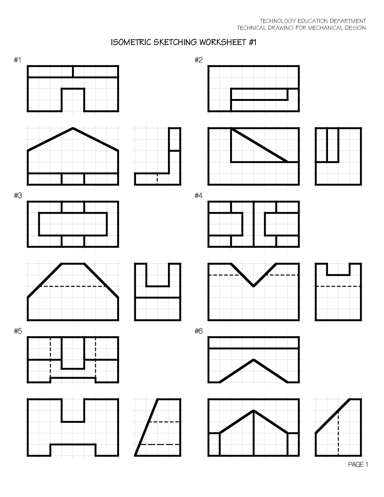 Worksheet Isometric Drawings Pictures   Vistas dibujo tecnico [ 1650 x 1275 Pixel ]