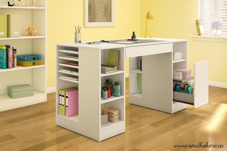 Amazon.com: South Shore Crea Collection Craft Table, White: Kitchen U0026 Dining