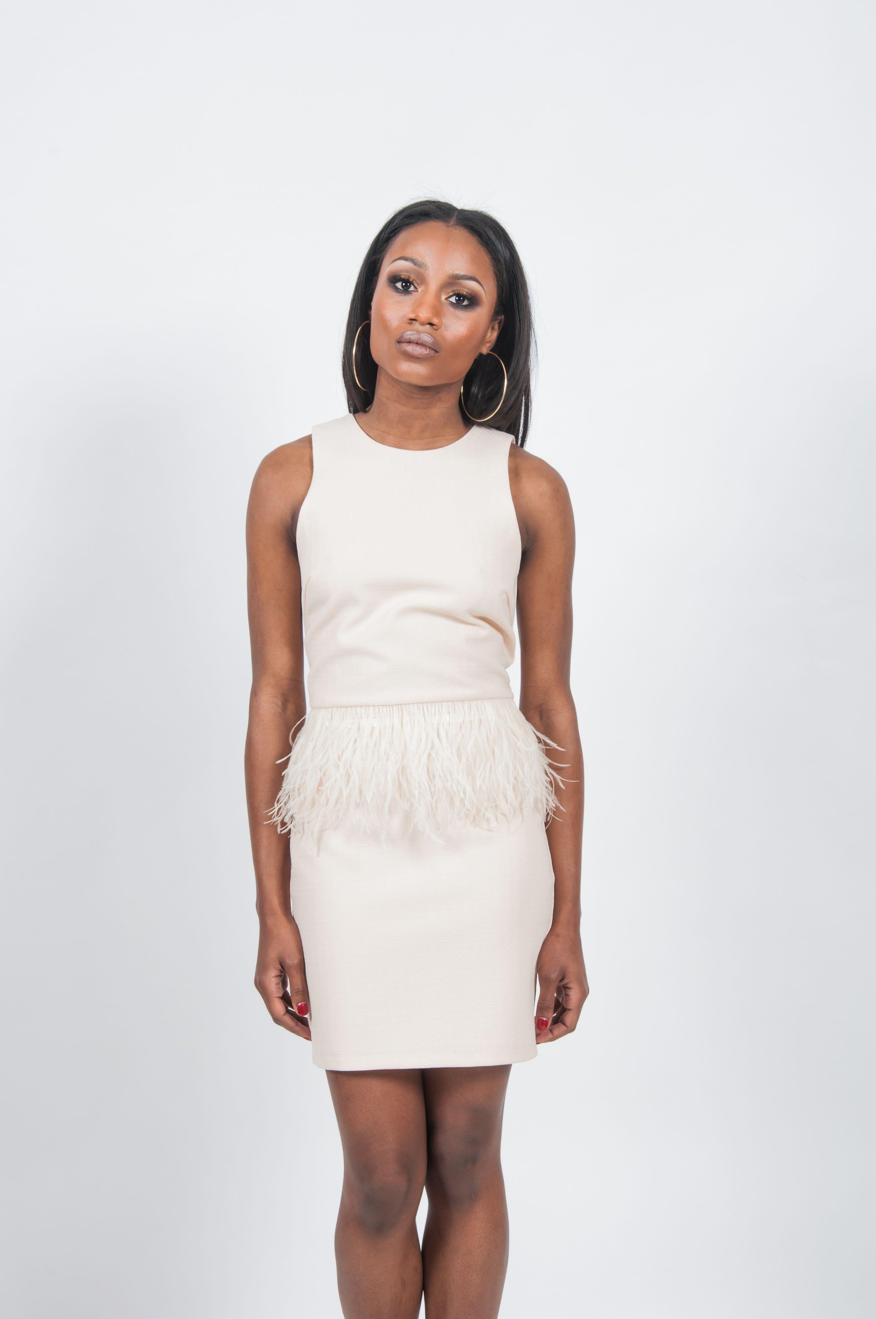 Feathered Blush Dress